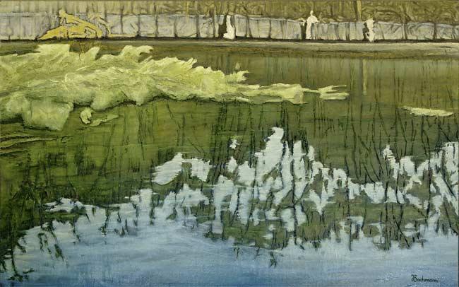 Au bord de l'étang, 2003 huile, 85 x 132cm