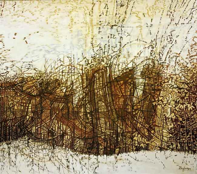 Lignes mouvantes, 2003 huile, 125 x 142cm