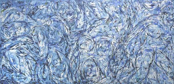 Tigresses bleues, 2005 Huile, 120x241cm