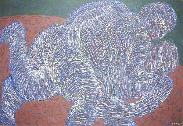 Lutteurs en train de lutter, 2003 Huile, 120x80cm