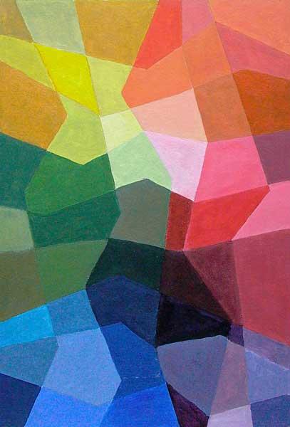 Sheila Bauer, Structure mobile (interdépendance des couleurs), 36x24cm