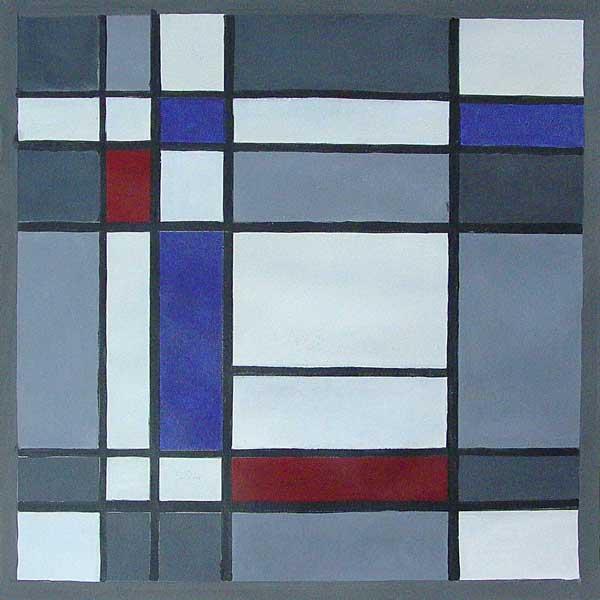 Martin-Paul Broennimann, A la manière de Mondrian (calcul de surfaces), 43x43cm précédente suivante