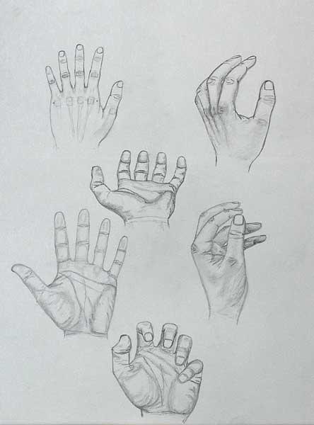 Aurel Storno, étude de mains, 65x50cm