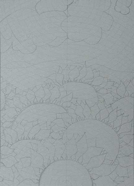 Ariane Kindler, Rythmes structureaux (Tournesols), 35x25cm