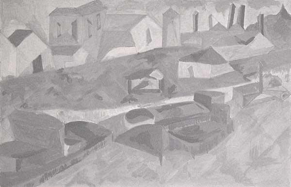 Cinzia Rapetto, Structure rythmique (étude de climat/valeurs), 18x27cm
