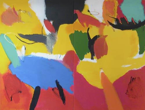Sans titre - 2002 acrylique et pigments sur toile Dyptique 2x 171x114