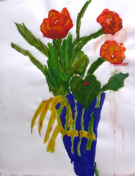 Alexandre Angeles (7ans), Fleurs, 65x50cm