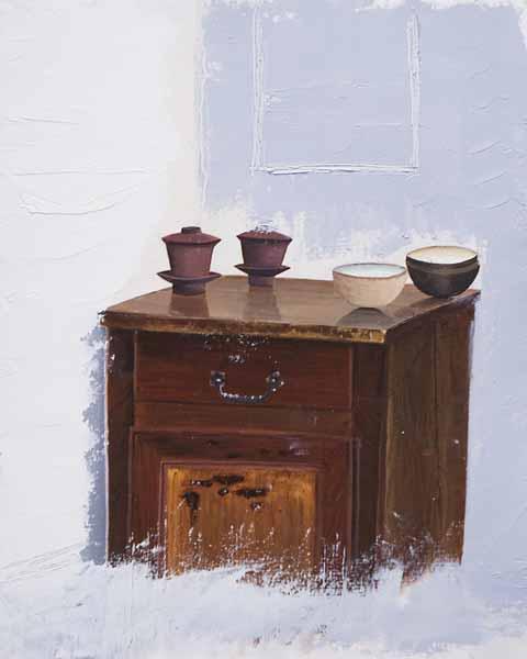 Mathieu CECCARELLI « Le Buffet »* 38x30 cm huile sur carton