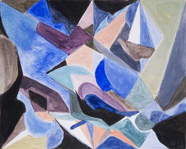 Philippe Curchod, Palette froide avec clef tonale, 26x32cm, acrylique