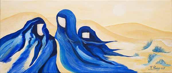 Françoise RUPP, « Bleus d'outre-mer »*, 30x70 cm, acrylique sur toile