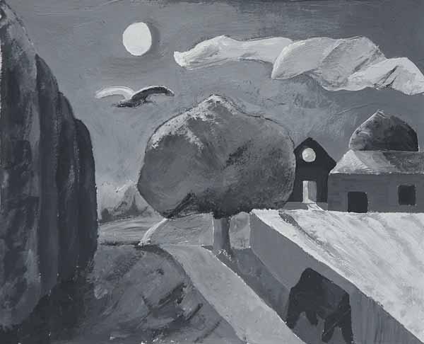 Samantha CAVACO « Paysage nocturne » 18x22 cm acrylique sur papier