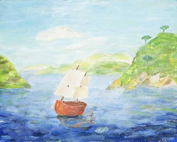 Cécilia De Prée, « Heureux qui, comme Ulysse,...», 30x24cm, huile sur carton