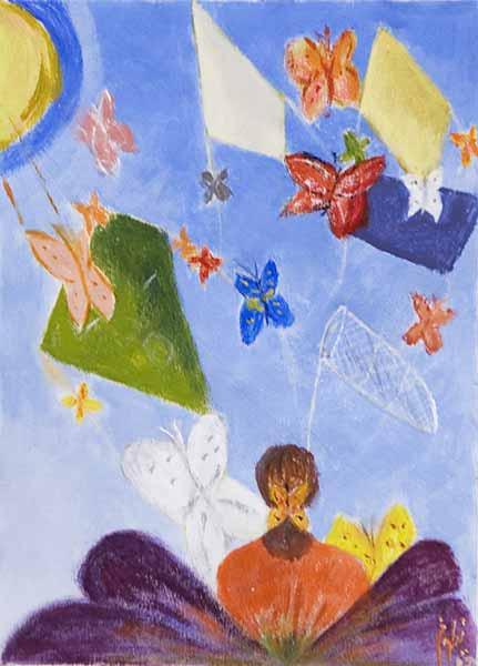 Niloufar BARKOULIS « Butterfly dream »* 21x15 cm acrylique sur papier