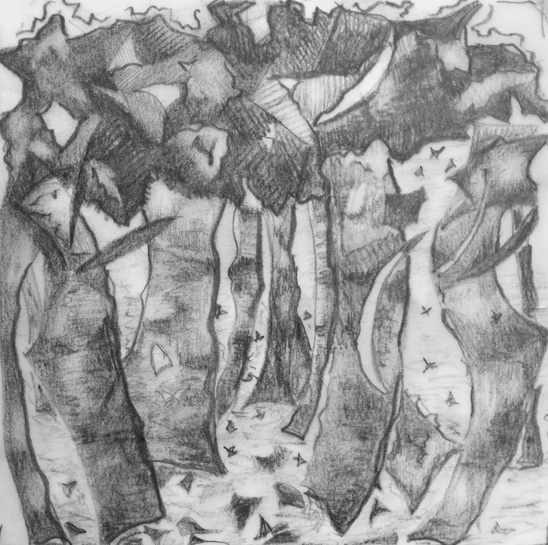 Pascale Ramain, crayon sur calque, 16x16