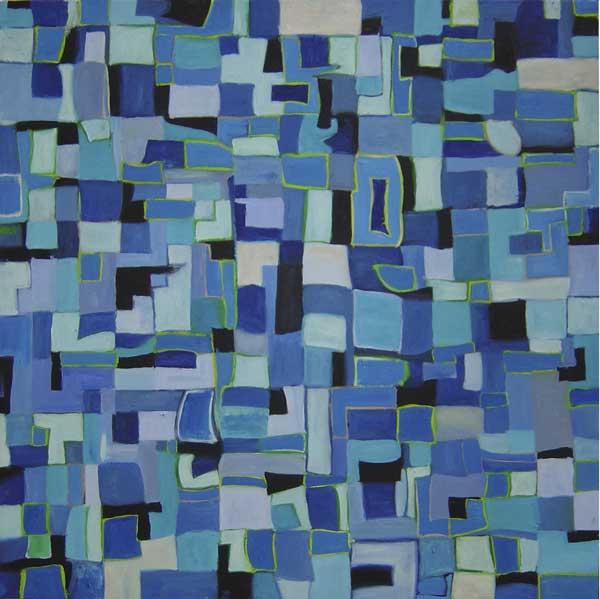Blue Abstrakt 100x100cm, huile sur toile, 2008