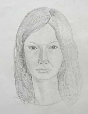 Elizaveta Nekipelova, autoportrait au crayon, 30x42