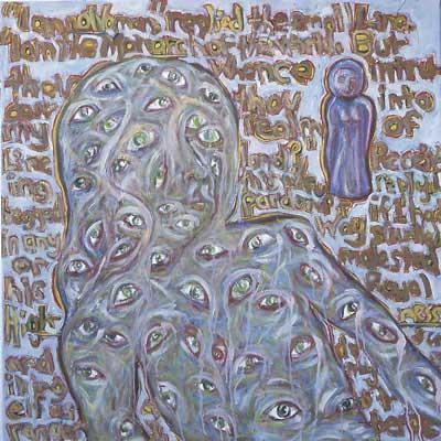 Personnages principaux de mon opéra bulgare non écrit #2, 100x100cm huile sur toile, 2002