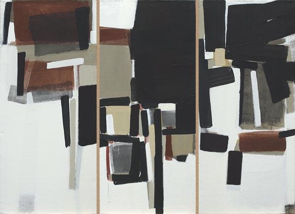 Toile, 2008 Pigments et liant acrylique, tryptique 3x 46x105cm vendu