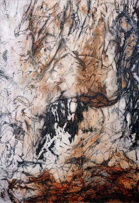 Trouée dans le feuillage , 2003 huile, 132 x 88cm