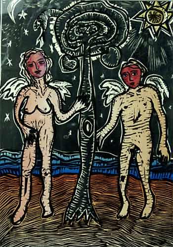 Adam et Eve gravure, 20x28cm