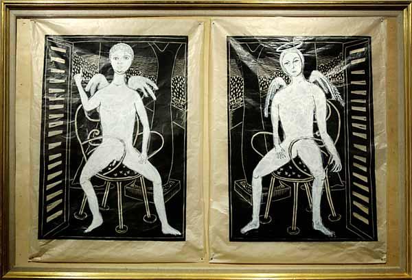 2 anges monotype, 2 fois 80x60cm