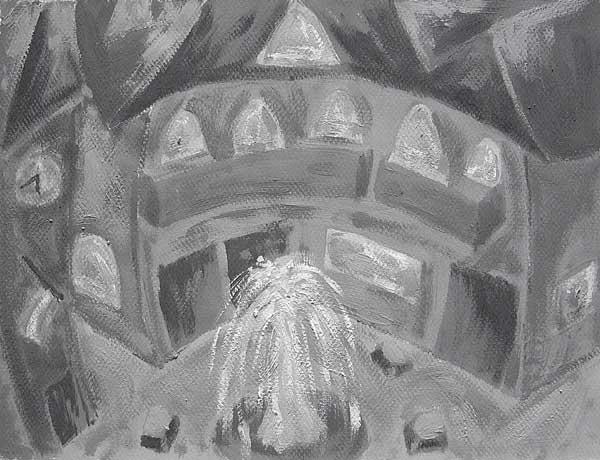 Serge Alarcon, Rythmes structureaux (Fontaine), 24x32cm