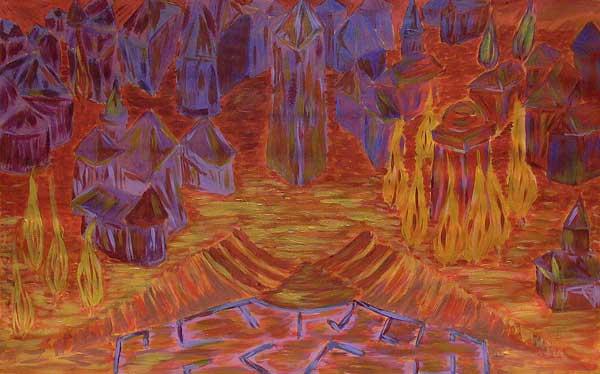 Serge Alarcon, Structure symétrique (Etude expressionniste), 33x55cm