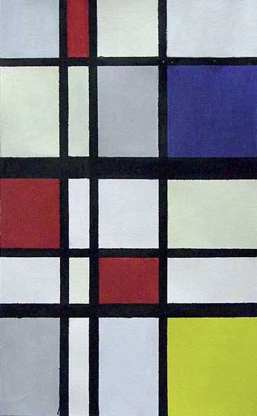 Martin-Paul Broennimann, A la manière de Mondrian (néoplasticisme), 51x32cm