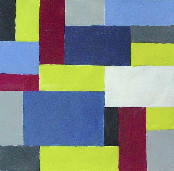 Martin-Paul Broennimann, Etude de rythme (répartition des couleurs), 40x42cm