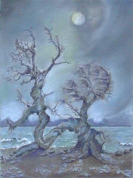 Robin Borzillo, Composition avec spirale (Paysage de lune), 36x26cm