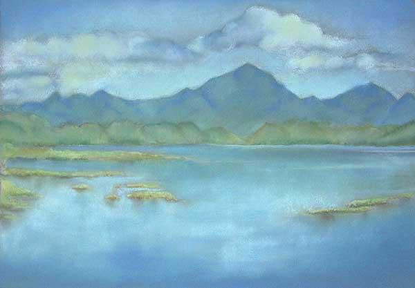 Robin Borzillo, Paysage lacustre, 30x42cm