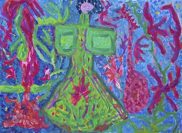 Dominique Gay, Rythmes structureaux (palette par opposition de couleurs), 28x38cm