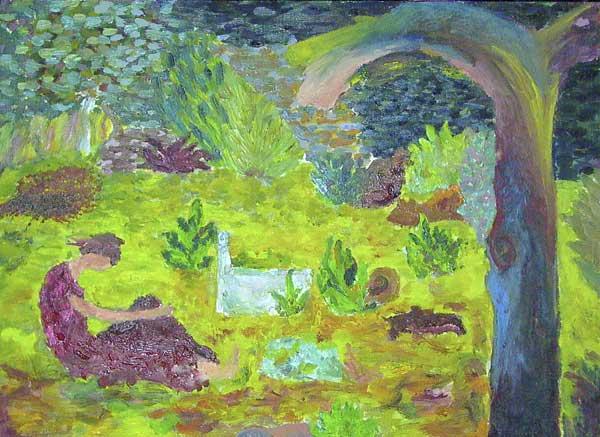 Cécilia De Prée, Composition avec spirale (Déjeuner en campagne), 30x40cm
