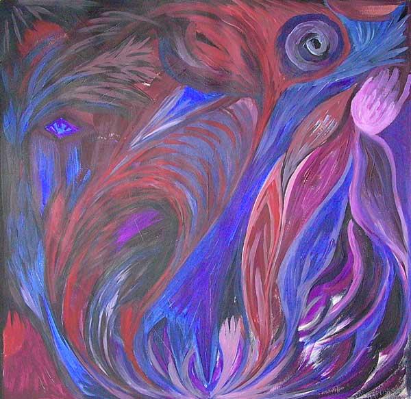 Béatrice Silverstein, Flammes, 40x40cm