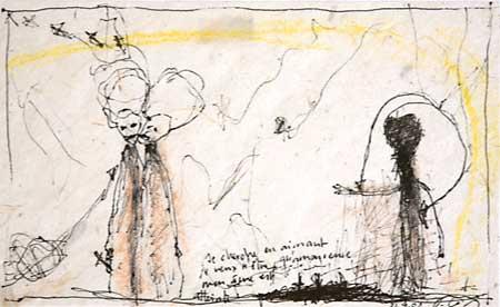 Les amoureux se donnent des baisers d'ailleurs II 2002, technique mixte, 11x16cm
