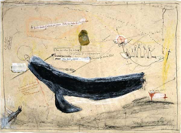 La femme baleine, 2003 technique mixte 50x70cm