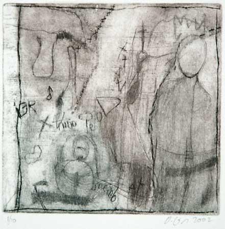La maison du vent XII, 2002 aquatinte, 10x10cm