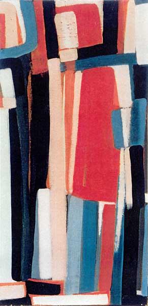 Toile, 2004 Pigments et gouache, 28x61cm collection privée
