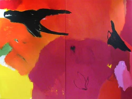 Sans titre - 2002 acrylique et pigments sur toile dyptique 2x 100x150