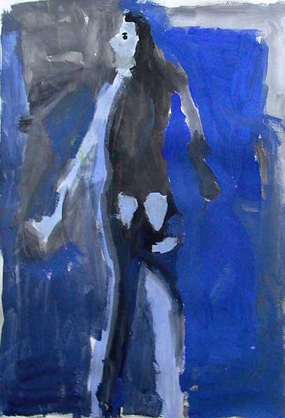 Alexandre Angeles (7ans), Grand nu bleu, 65x50cm