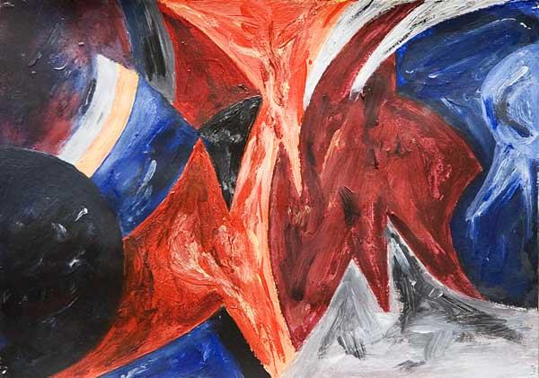 Eveline Haenni, Rythme structureaux (Miroir), 20x28cm, acrylique