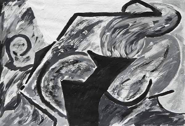Jacqueline SIMONIN, « Rupture »*, 24x35 cm, acrylique sur papier