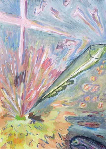 Jean-Patrick LE GALL « Une lampe à mes pieds… » 70x50 cm acrylique sur papier