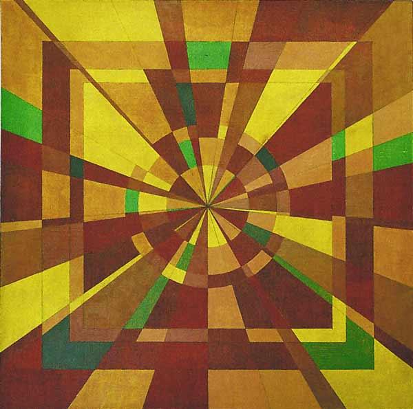 Mandala lévofuges 2, 2005 huile sur toile, 100x100cm