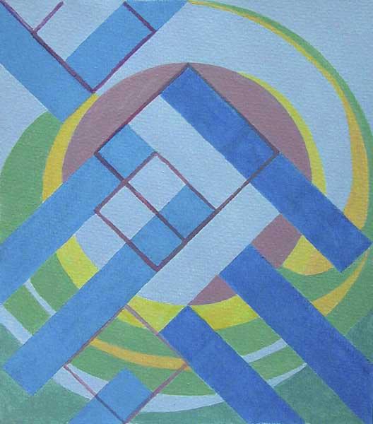 Sheila Bauer, tentative de résolution de la quadrature du cercle, 28x24cm